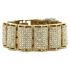 NEW ICED OUT HEAVY GOLD PLATED MICRO PAVE SIMULATED DIAMOND 8.5 BRACELET KB022G