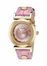 Versace Women's P5Q80D111 S111 VANITY Gold IP Steel Pink Leather Wristwatch