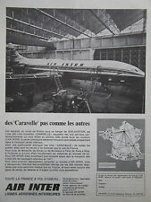 4/1967 PUB AIR INTER AIRLINE SUD AVIATION CARAVELLE AIRLINER ORIGINAL FRENCH AD