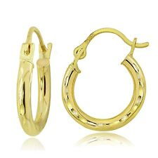 14K Gold 2mm Round Small Diamond-Cut Hoop Earrings, 12mm