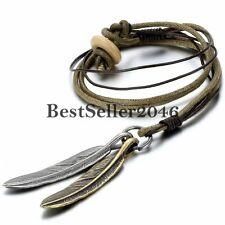 Retro Feather Charm Men's Women Unisex Pendant Necklace Adjustable Leather Cord
