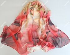 Red lotus New lady's Georgette Long Wrap Shawl Beach Silk Scarf