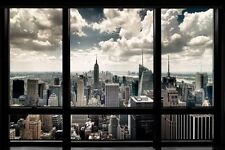 New York City Window Poster Wall Art Print Home Decor Skyline