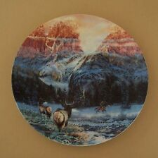 Faces of Nature WINTERING WITH THE WAPITI Plate Native American Indian Camo Art