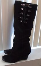 Naughty Monkey Black Suede After Summer Slouchy Knee High Boots Size 8 NWOB