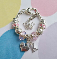 Pink Silver Plated Bracelet. Gift for a Girl Baby. Any Initial. Any Charm.