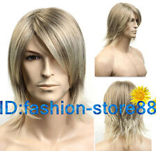 Fashion Short blonde mix Man Men Wig Daily Natural Hair wigs + Free Wig cap