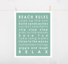 BEACH RULES TYPOGRAPHY ART PRINT ON PAPER SIZE A4