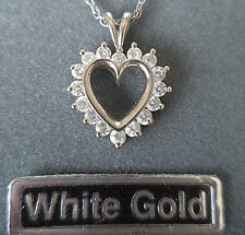 White 14K Solid Gold Diamonique Heart Necklace QVC