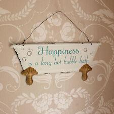 """""""la felicità è"""" da appendere Bagno Placca Muro Muro segno appendere BAGNO VINTAGE HOME"""