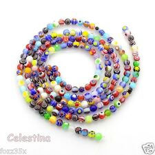 50 x 4mm Millefiori Round Flower Pattern Glass Beads Mixed Designs - GB52