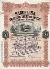 Barcelona Traction, Light and Power Company, accion, 1913, USD 100 oro