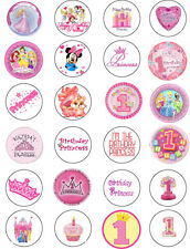 1st Birthday Girls Edible Cupcake / Fairy Cake Wafer Paper Toppers x 24