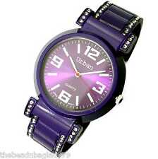 NEW JAS BANGLE BOYFRIEND CUFF WATCH  PURPLE METAL BAND WITH CLEAR CRYSTALS