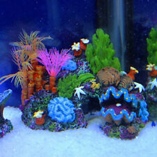 Aquarium Artificial Mounted Decor Ornament Set Coral Reef Fish Cave Tank
