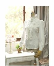 US Victorian Women Office Long Sleeve T-Shirt Tops High Neck Ruffle Shirt Blouse