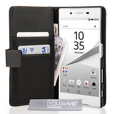 Yousave Accessories Sony Xperia Z5 Black PU Leather Wallet Phone Case Cover UK