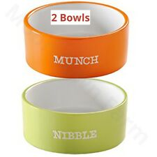 2 x Mason Cash Munch & Nibbles Pet Bowls 120mm Ceramic High Quality Cat / Rabbit