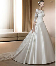 Handmade 3/4 long Sleeve Off Shoulder Married Wedding Dress Stain Bridal Gowns