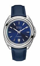 Bulova Accutron Men's 63B185 Accu Swiss Telc Automatic Blue Leather Dress Watch