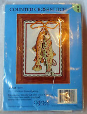 "CANDAMAR DESIGNS counted cross stitch kit unopened TROUT 5"" x 7"""