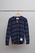 Thom Browne Red White & Blue Grosgrain Polo Shirt Long Sleeve NEW