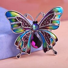 Beautiful Antique Silver Plated Violetta Purple Butterfly Brooch