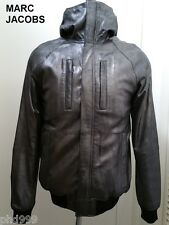 New MARC JACOBS leather jacket silver gray hoodie hooded polo hood bomber coat M
