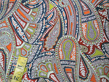 Liberty of London Silk Crepe Fabric Kirstie's Paisley Sandalwood Red Green 1.5m
