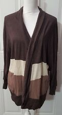New Womens Brown Tones Lily Star Light Weight Knit Open Front Cardigan Large