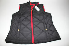 NWT RALPH LAUREN Size Medium Women's Black/Red Quilted Mock Full Zip Vest