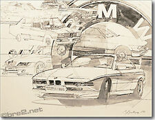 "GEORGE BARTELL art BMW All Series Cars 22""x17"" signed by artist George Bartell"