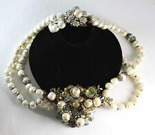 Vintage Miriam Haskell Large Baroque Pearl w/Rhinestone Necklace signed
