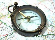 Brass map compass with leather case--Captain cabin compass