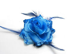 1X Rose Flower Feather Prom Wrist Corsage Hair Clip Fascinator Pin Brooch Blue