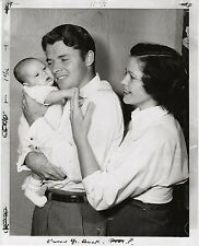 Audie Murphy and his wife hold their new baby ~ ORIGINAL 1952 press photo
