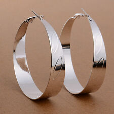"New Big Bold & Shiny 925 Sterling Silver Plate 2.25"" Round Ellipse Hoop Earrings"