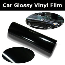 "24"" X 200"" Glossy Black Vinyl Car Wrap Sheet Roll Film Sticker Decal"