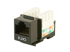 2 New Keystone Jack Module, KJ8 Black, RJ45 Connector Female Ethernet