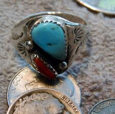 Light weight  Mens Silver Turquoise & Coral Ring Navajo Mary Lincoln Size 12 1/2