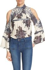 131340 New Free People Bain Bridge Printed Embroidered Cutout Blouse Top M