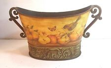 "ORNATE METAL PLANTER WITH IMAGES OF FRUIT, BUTTERFLIES AND BIRDS 8.5"" X 16"" X 8"""