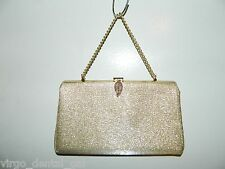 VTG Metallic Gold Tone Metal Leaf Closure Clutch Purse