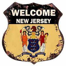 BP-0065 WELCOME NEW JERSEY State Flag Shield Chic Sign Bar Shop Home Decor