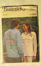 New Vintage Butterick Pattern 4741 Size 16 Misses Shirt & Embroidered Transfer