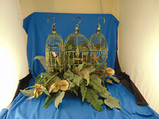 "Triple domed metal bird cage decorative greenery 14"" w x 15"" h shabby terarium"