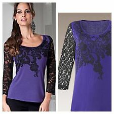 Simply Be Plus Size 26 Violet Black Print Lace Sleeve Jewel Jersey TOP Party Fab