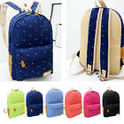 New Women Backpack Canvas Rucksack Polka Dot Zipper Bag School Book Shoulder Bag