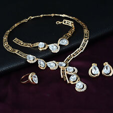 Women Crystal Necklace Bracelet Ring Earrings Jewelry Set Party Wedding Fashion