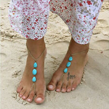 Barefoot Sandal Foot Jewelry Turquoise Beads Beaded Stretch Anklet Chain Pop